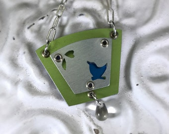 Blue Bird Necklace-Bird Lover's Gift-Bird Silhouette Necklace-Silver/Blue/Green