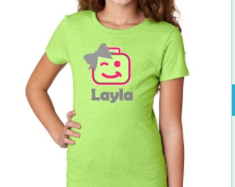 Girls green Lego t shirt with name