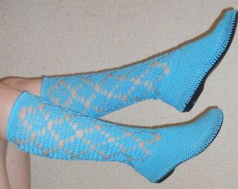 HandicraftUA | Summer footwear Women's boots Knitted boots Handmade