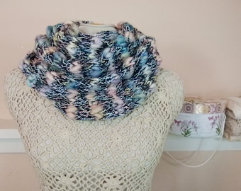 "Fluffy Hand Knit Cowl: Lightweight Cowl ""Clouds at Dusk"" - Item 952"