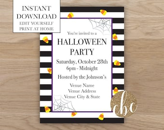 DIY Printable Halloween Invite - Holiday/Editable/Digital Download
