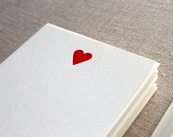Flat Card Set with Letterpress Heart (vertical)