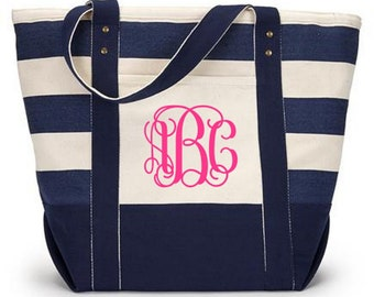 JUMBO Beach Bag Canvas Tote Monogrammed FREE SHIPPING