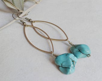 Brass and turquoise earrings, earrings marquise, oval earrings, boho earrings, earrings