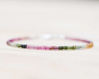 Delicate Multi Colored Tourmaline Bracelet, Watermelon & Petro Colors, Watermelon Tourmaline Jewelry, Sterling Silver Rose Gold Fill