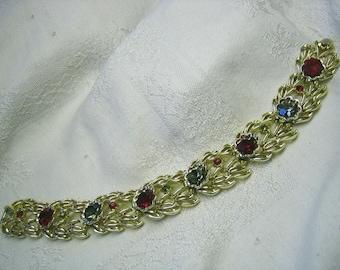 Vintage Coro Red & Smoke Rhinestone Bracelet