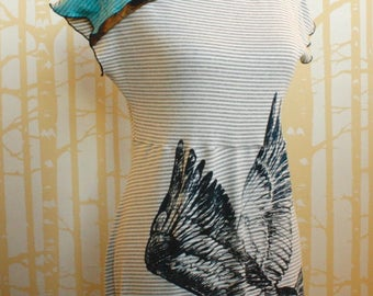 Migration Dress, size SMALL, in American-grown organic cotton, hand printed with Canada Geese, one of a kind