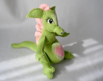 Plush Wool Felt Sitting Dragon Mom-To-Be, Green Dragon, Pregnant Dragon, Shower Gift, Nursery Toy