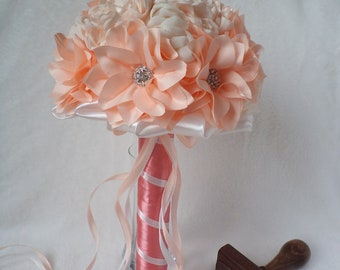 Barbelle peach wedding bridal bouquet with handmade fantasy flowers FREE SHIPPING