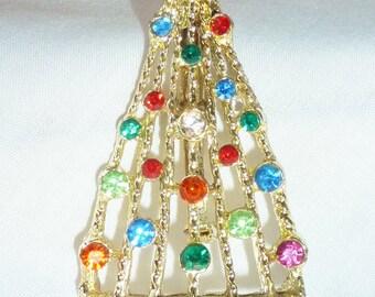 Vintage Pin Holiday Christmas Tree Rhinestone  Pin Brooch STUNNING Drop Dead Amazing