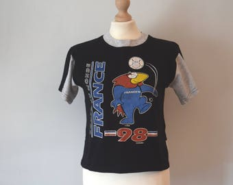 90s Vintage Official France 98 Coupe Du Monde Tshirt / Black,Gray / Printed Tshirt / Cropped Top / S