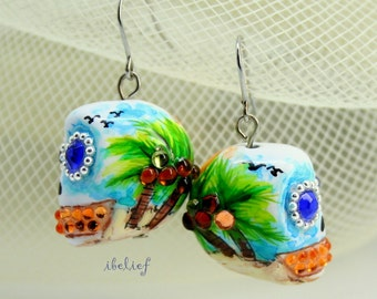 Skull in a-day is the day of the dead skulls of the sea earrings stone ES0068