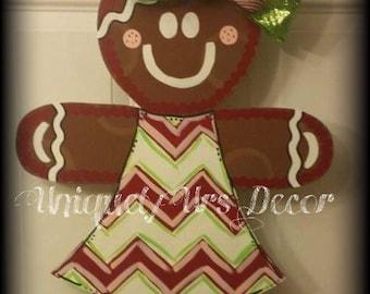 Gingerbread Girl Door Hanger, Door Hanger, Christmas Door Hanger