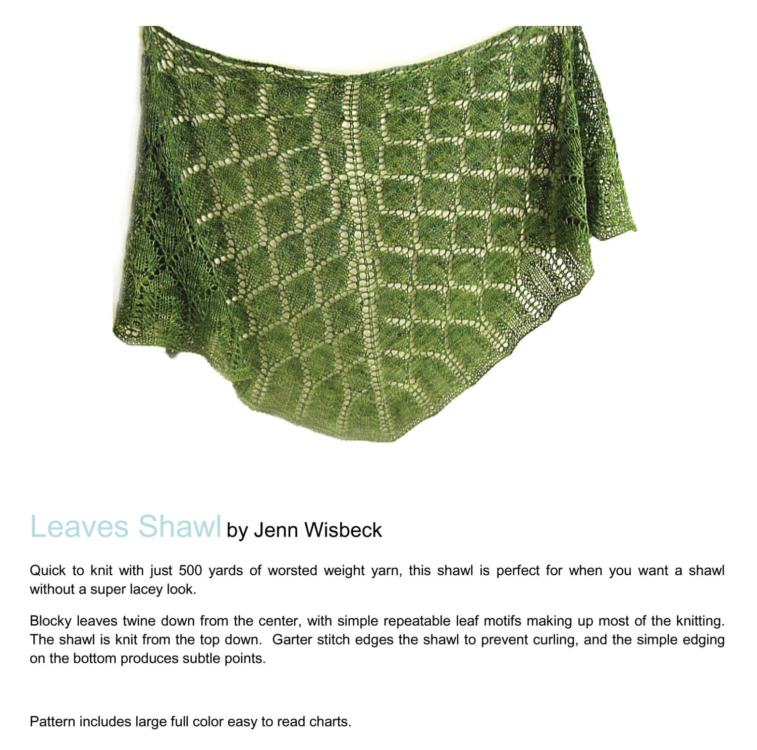 Leaves Shawl Lace Knitting Pattern PDF from midnightskyfibers on ...