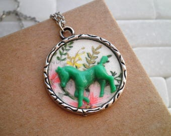 Vintage Horse & Flowers Charm Necklace, Floral Paper Ephemera Mini Green Horse Button Diorama Pendant, Retro Equestrian Animal Jewelry Gift