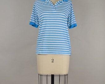 CLEARANCE SALE Vintage Polo T Shirt in Blue and White Stripe - Thin Cotton Short Sleeves small medium s m 1970s 1980s