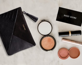 Gifts for her: Leather Makeup Bag and Cable Organizer Pouch