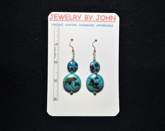 Large and Small Turquoise Colored Stone Dangles with Butterfly Prints and Silver Beads on Ear Wires  (* Matching Necklace Available)