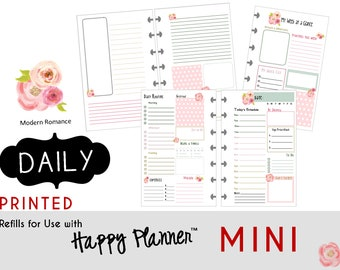 "PRINTED: MINI Happy Planner DAILY Insert  Create365 | mambi | Me & My Big Ideas - ""Modern Romance"""