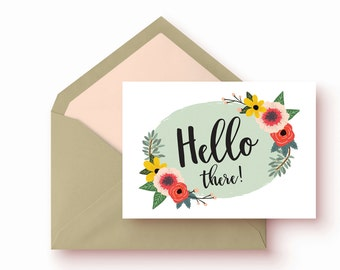 Hello There Cards  8 card set   illustrated with flowers