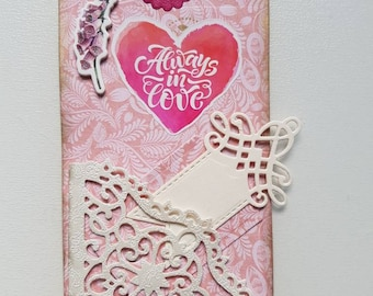 Tag or mark cardboard paper and various embellishments. Handmade size 8 x 16 cm