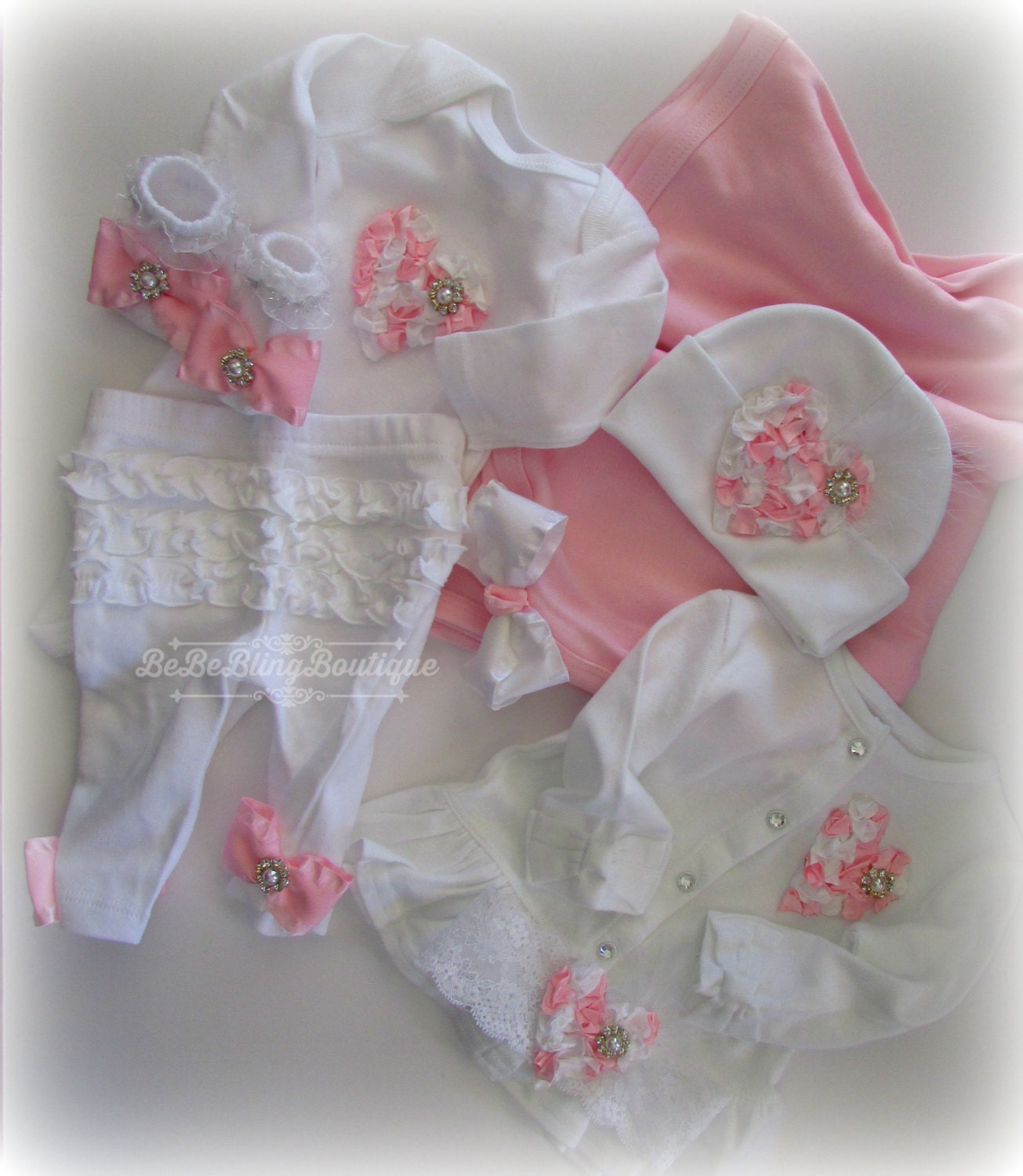 Baby girl plete clothing set Newborn take home outfit Girl