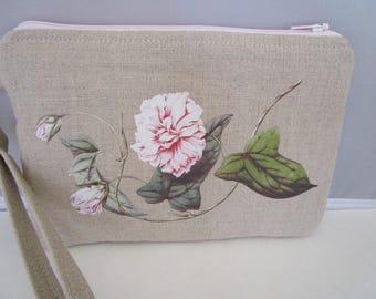 soft pink floral wristlet, purse, wallet, clutch, handbag, cellphone, cellphone case, credit card