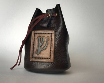 Handmade leather Pouch / Dice bag with carved rune