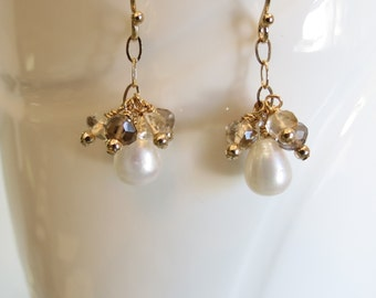 Freshwater Pearl Earrings, Smoky Quartz Citrine Earrings, June And November Birthstone, Gemstone Earring