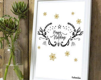 Christmas * deer happy holidays A4 unframed print