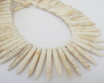 Spikes Beads - Ivory White Spike Needle Stick - Long Howlite Turquoise - Brown Matrix Spike Gemstone - 20  Pcs - DIY Boho Fan Necklace