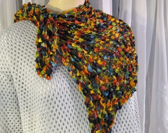 Women's hand crocheted multicolored acrylic capelet