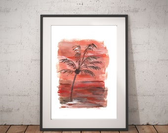 Palm Tree Decor, Tropical painting abstract, Paper art for couple, Modern office abstract, Beach wedding couple gift, Palm tree on the left