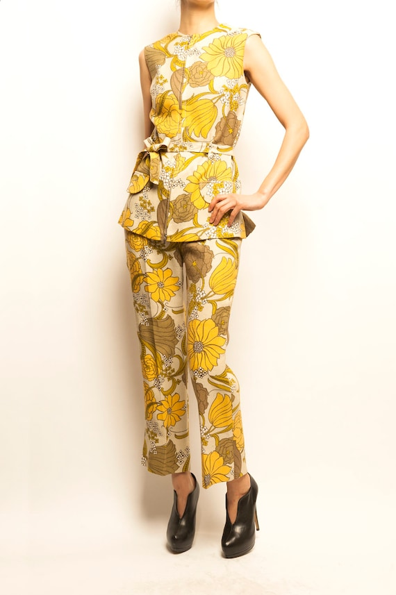 70's flowers motif linen top + pants ensemble