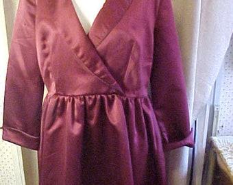 Vintage Wine Satin Dress,XXL,  zipper at side,  Maker, Label  Dress V  #3342
