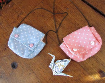 Pastel Twin Polka dots Messenger Bag, lined, for MSD dolls and small SD