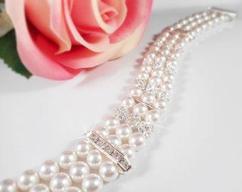 3 Strand Swarovski Pearl And Rhinestone Bridal Bracelet Swarovski Pearl And Crystal Bridal Bracelet Bridesmaid Bracelet Bridesmaid Gift