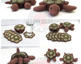 Tortoise and Turtle Hideaway Coaster Sets - Crochet PDF Pattern