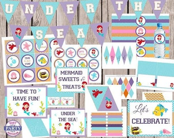 70% OFF Little Mermaid Party Package, Instant download, bright colors, ariel, sabastioan, flounder, under the sea, printable, party signs