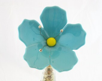 Turquoise Blue Fused Glass Hibiscus Flower Plant Stake