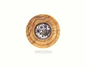Plug Olivewood & Clockwork Steampunk 32 mm-Olive wood dilator with clock mechanism 32 mm