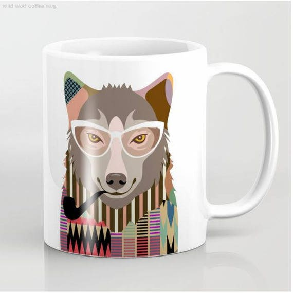 Wolf Mug, Wolf Gifts, Wolf Art, Wolf Painting, Wolf Print, Wolf Accessories, Animal Mug