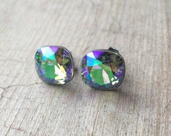 Square Cushion Cut Crystal Paradise Shine Swarovski Rivoli Crystal Post Earrings 10mm