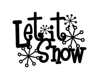 Let It Snow Metal Sign with Snowflakes - Black, 13.5x10, Winter Decor, Christmas Decoration, Snow, Christmas