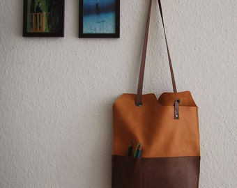RESERVED for Patricia - vegetable tanned leather yin yang tote bag - with pockets