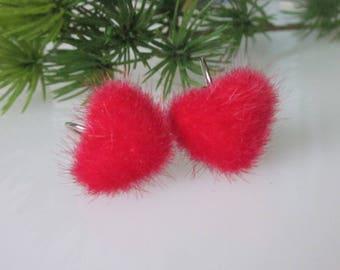 Red Heart Earrings, Valentines Earrings, Red Dangle Earrings, Fur, Puff Heart, Valentine's Day Gift, Romantic Jewelry, Minimalist Dangle
