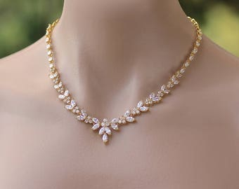 Gold Crystal Necklace, Gold Bridal Necklace, Gold Crystal Necklace, Gold Wedding Necklace,DENISE G