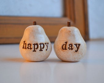 Wedding cake topper ... Pair of Pears... happy day ... perfect pair