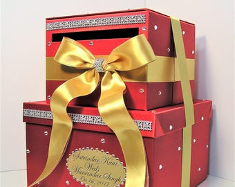 Wedding Card Box Red and Gold ,Gift Card Box Money Box  Holder Sweet 16--Customize your color