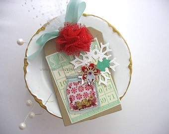 Festive Holiday Candy Jar Bingo Card Snowflake XL Deluxe Christmas Gift Tag or Homemade Card~hang tag~Tulle Pom Pom~green~red~white